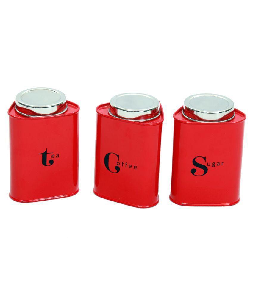 Gaarv Tea, Coffee And Sugar Triangular Canisters - Set Of 3