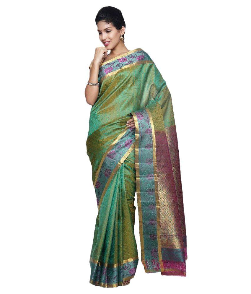 Sudarshan Family Store Green Silk Saree