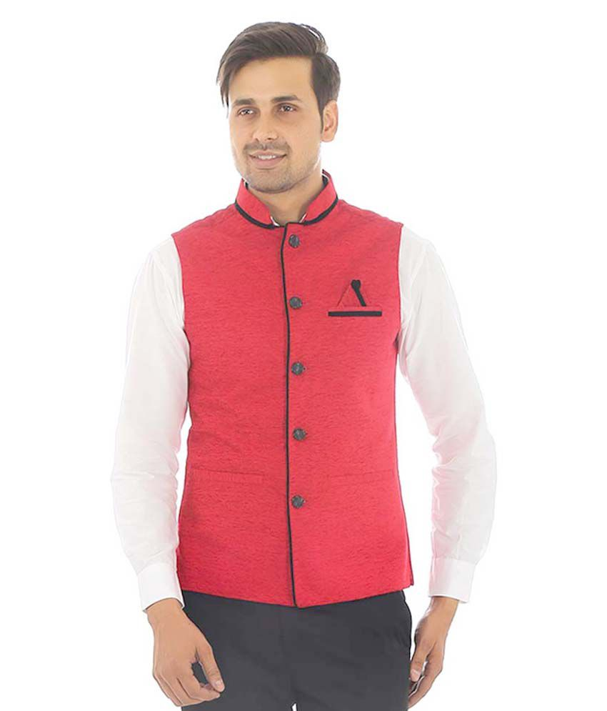 Zuricch Red Casual Waistcoats