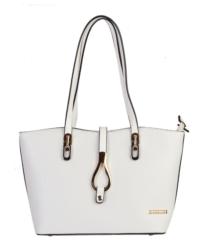 Esbeda White Synthetic Shoulder Bag