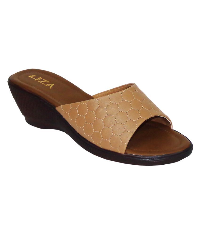 Liza Beige Wedges Heels