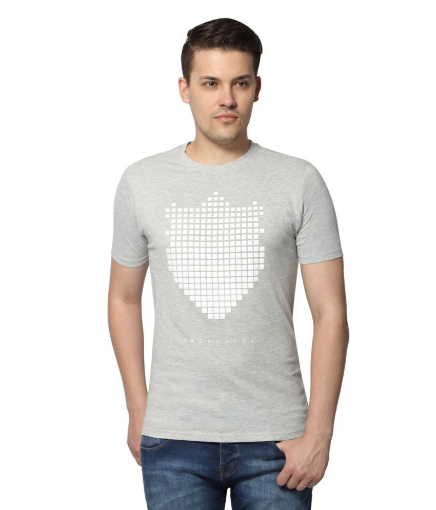 883 Police Grey Round T Shirt