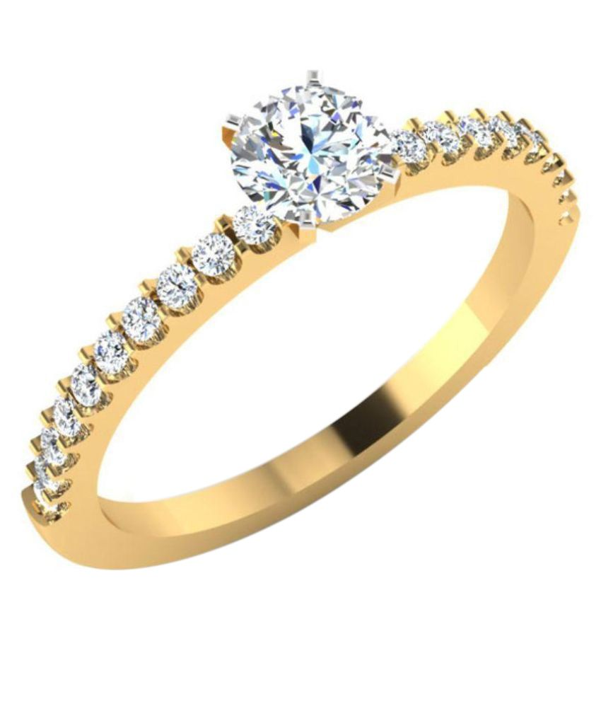 Carat Forever 14Kt Yellow Gold Diamond Solitaire Engagement  Ring