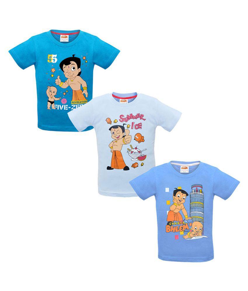Chhota Bheem Multicolour Cotton T-Shirt - Pack of 3
