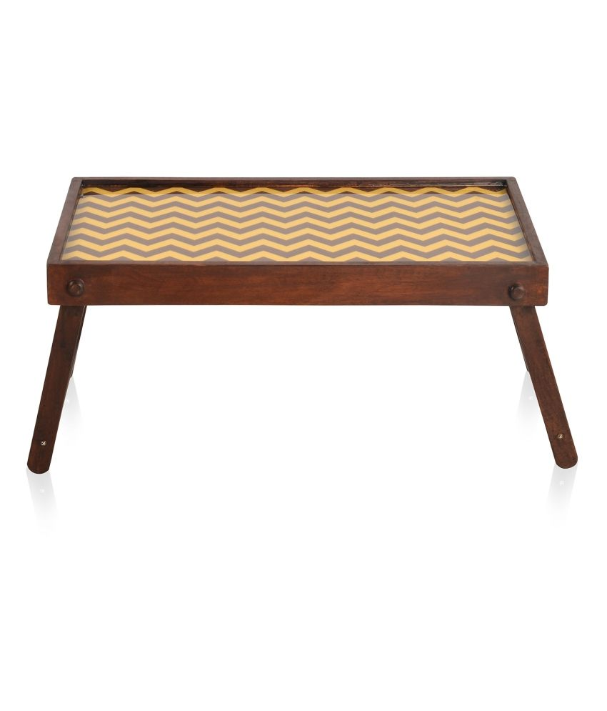 @home by Nilkamal Chevron Solid Wood Bed Table