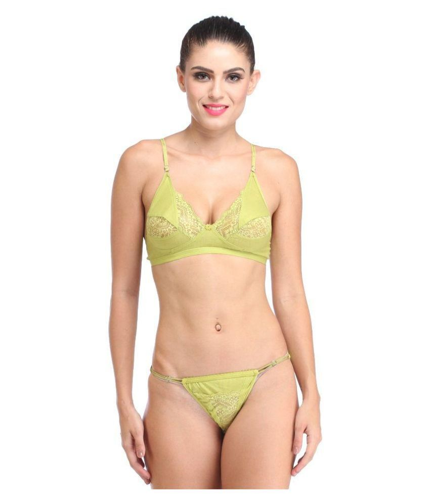 Buy Lime Green Lace Bra   Panty Sets Online at Best Prices in India -  Snapdeal 617e16c60