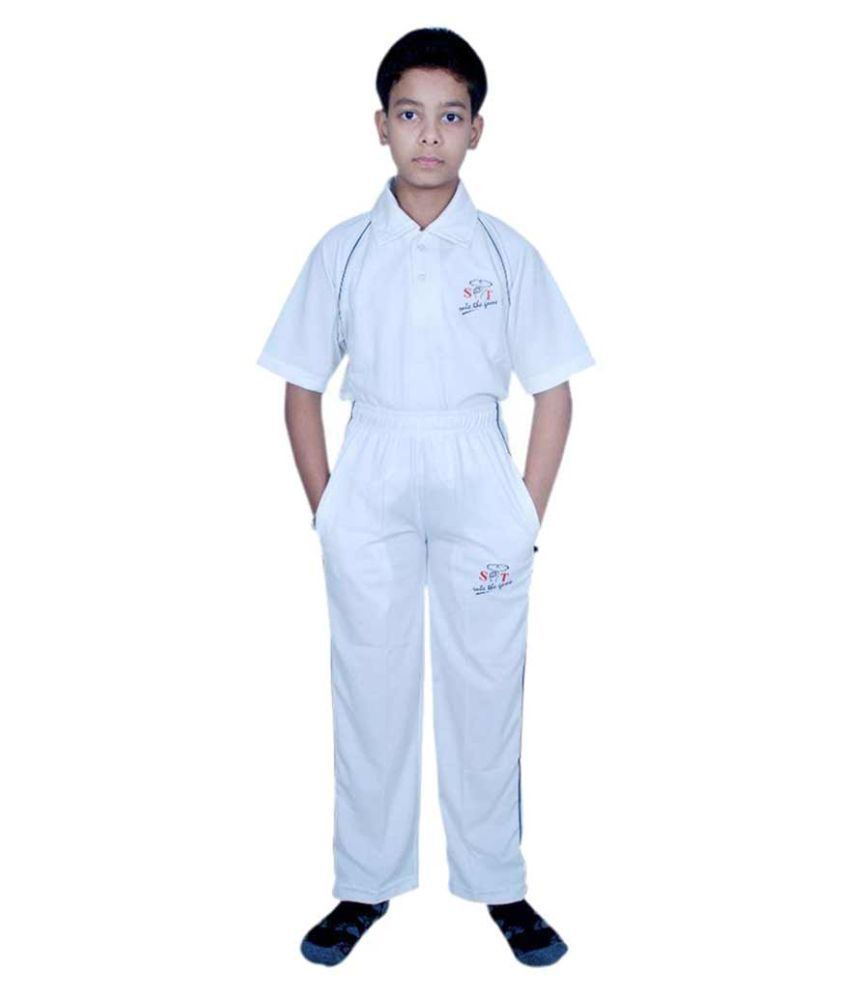 SST White Cotton Cricket Active Wear for Boys