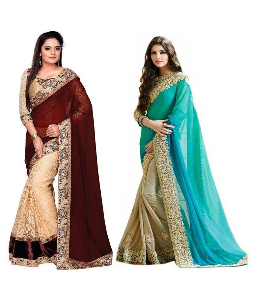 TrynGet Multicoloured Georgette Saree Combos