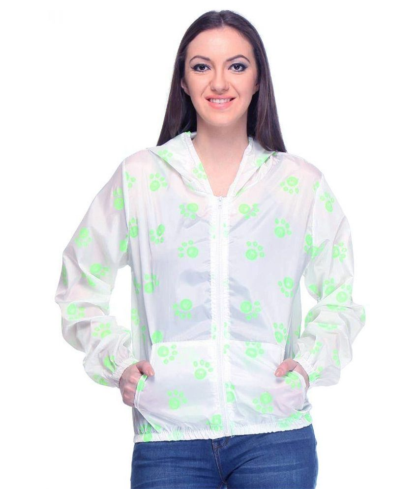 Designeez White Nylon Short Raincoat