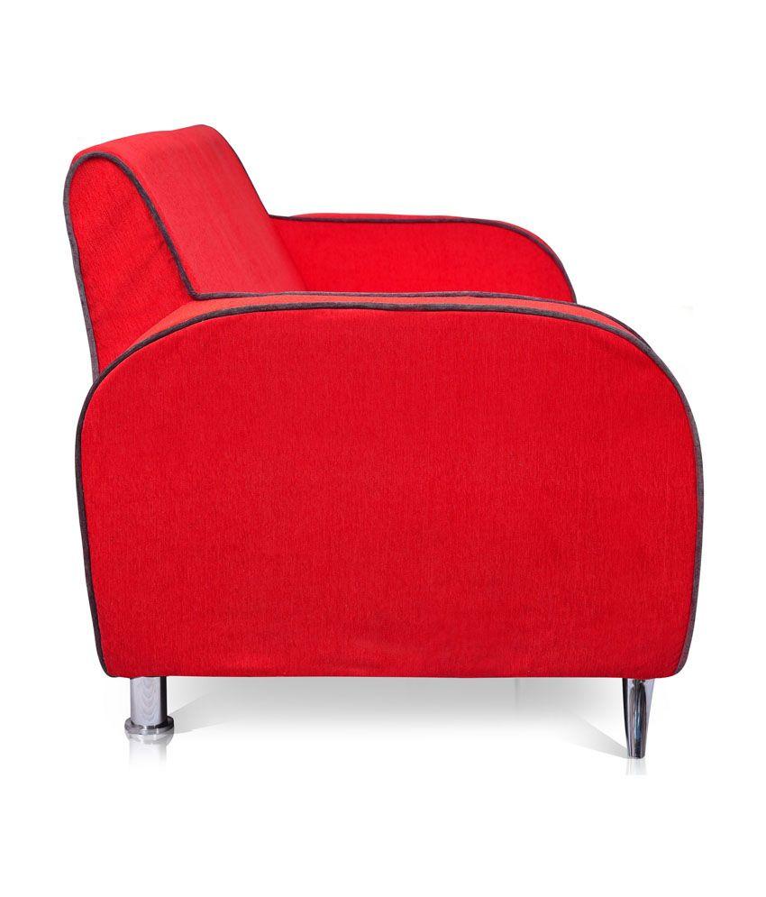 Dolphin Cabana Fabric 3+2 Seater Sofa Set - Red