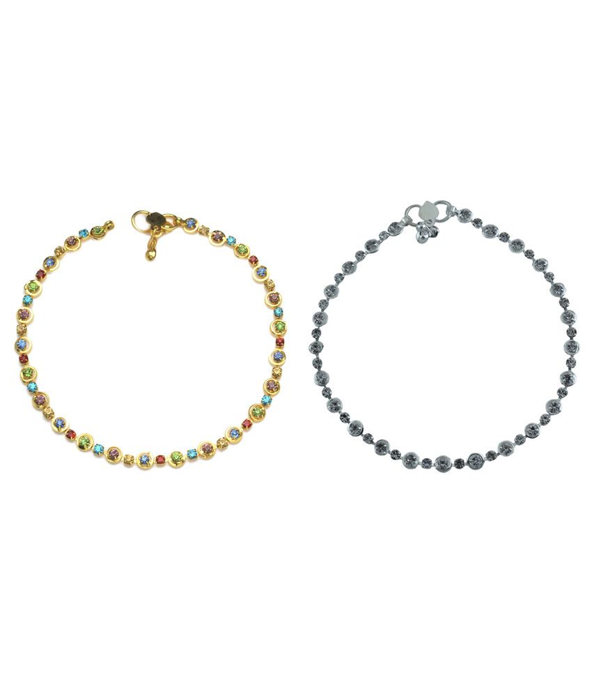 High Trendz Alloy American diamonds Studded Multi Coloured Pair Of Anklets