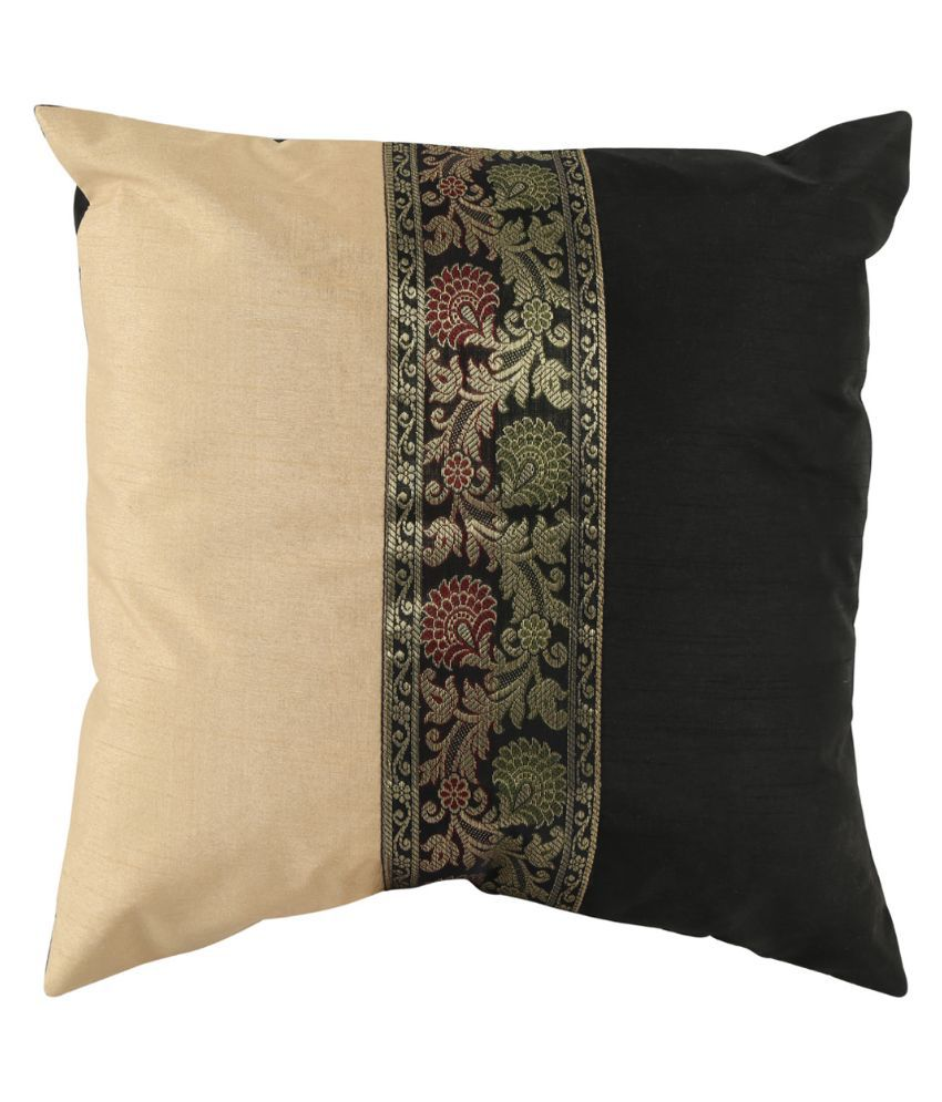 Rajrang Black and Beige Brocade Cushion Cover