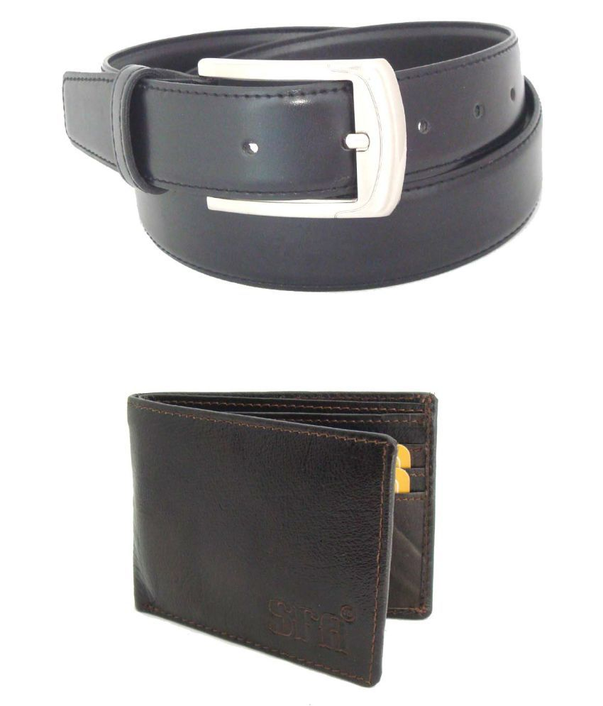 SFA Combo of Black Belt and Wallet for Men