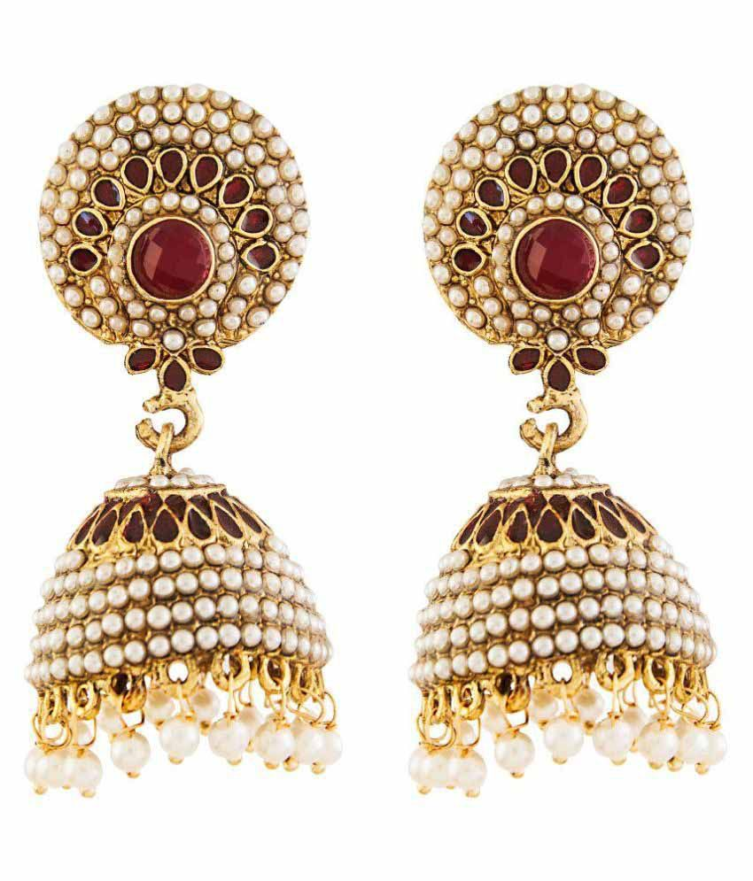 Aashvi Creation Alloy Gold Plating Pearls Studded Gold Coloured Earrings