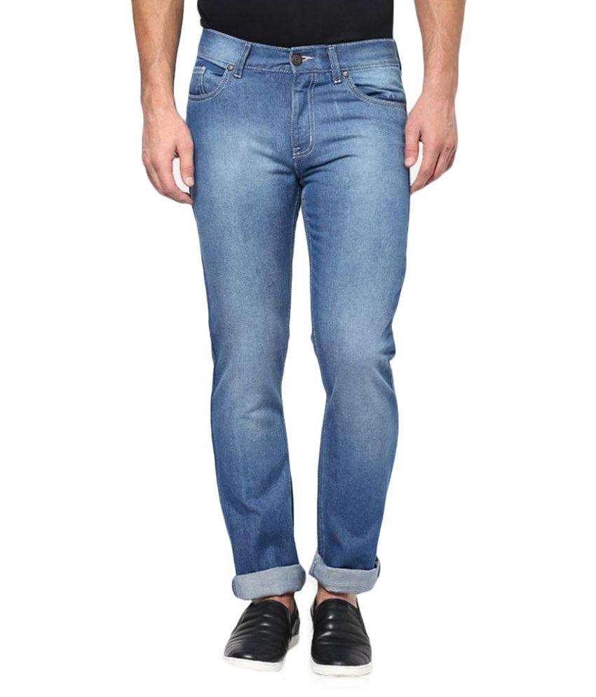 Flying Machine Blue Regular Fit Washed Jeans