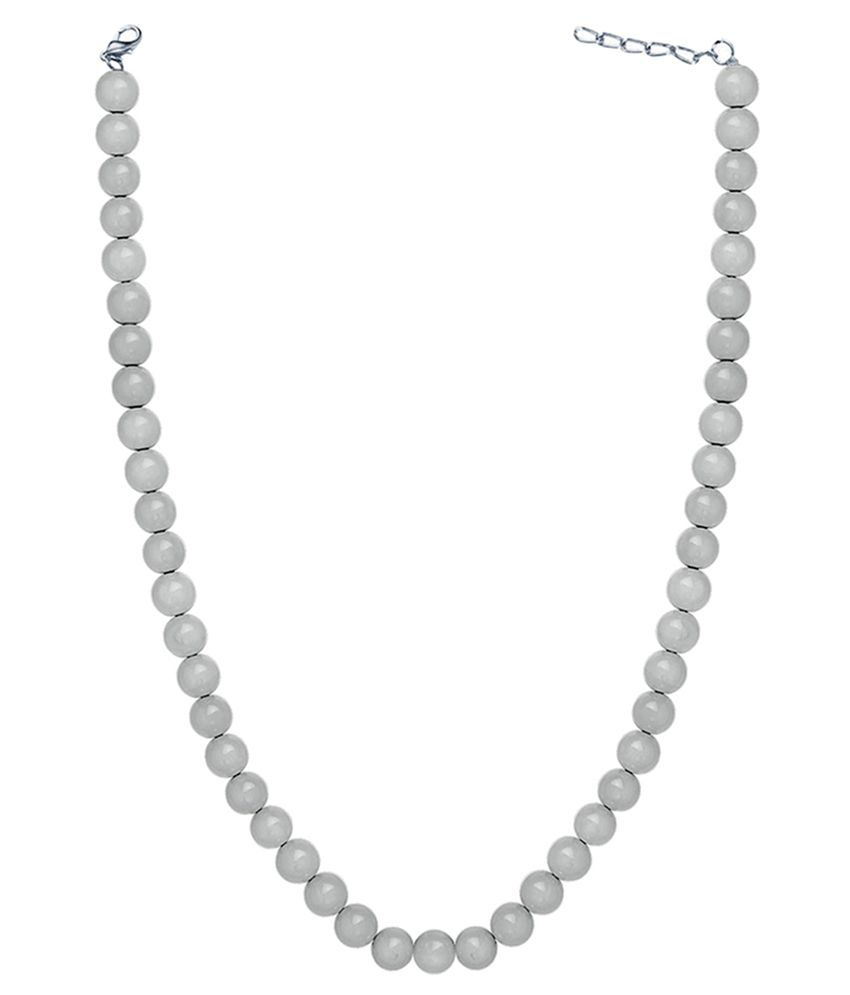 Mahi Brass Rhodium Plating Pearls Studded White Coloured Necklace