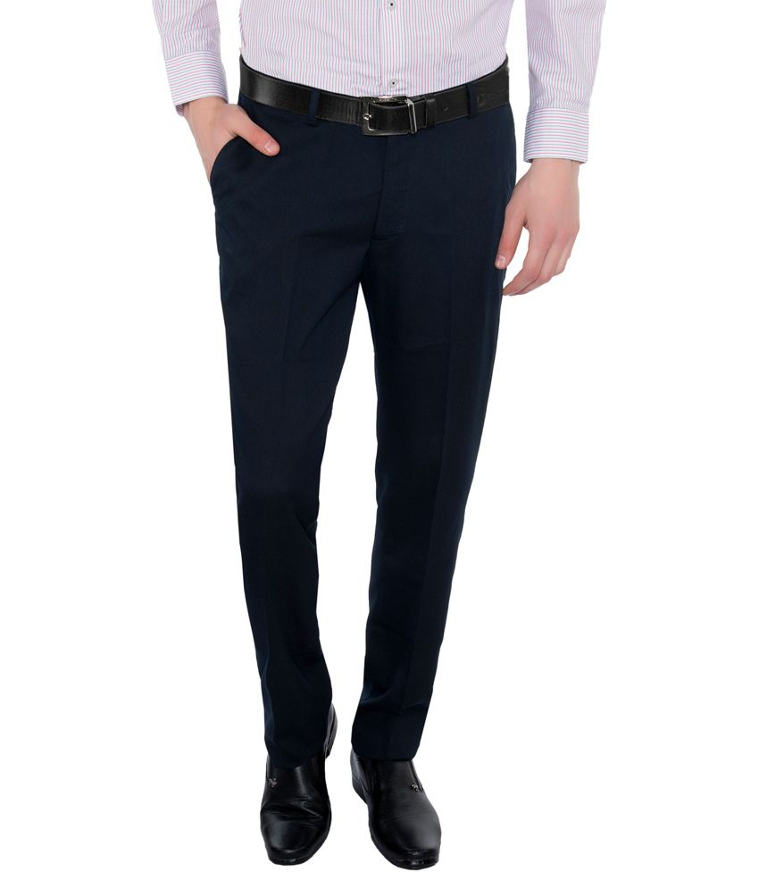 Vimal Navy Slim Fit Flat Trousers