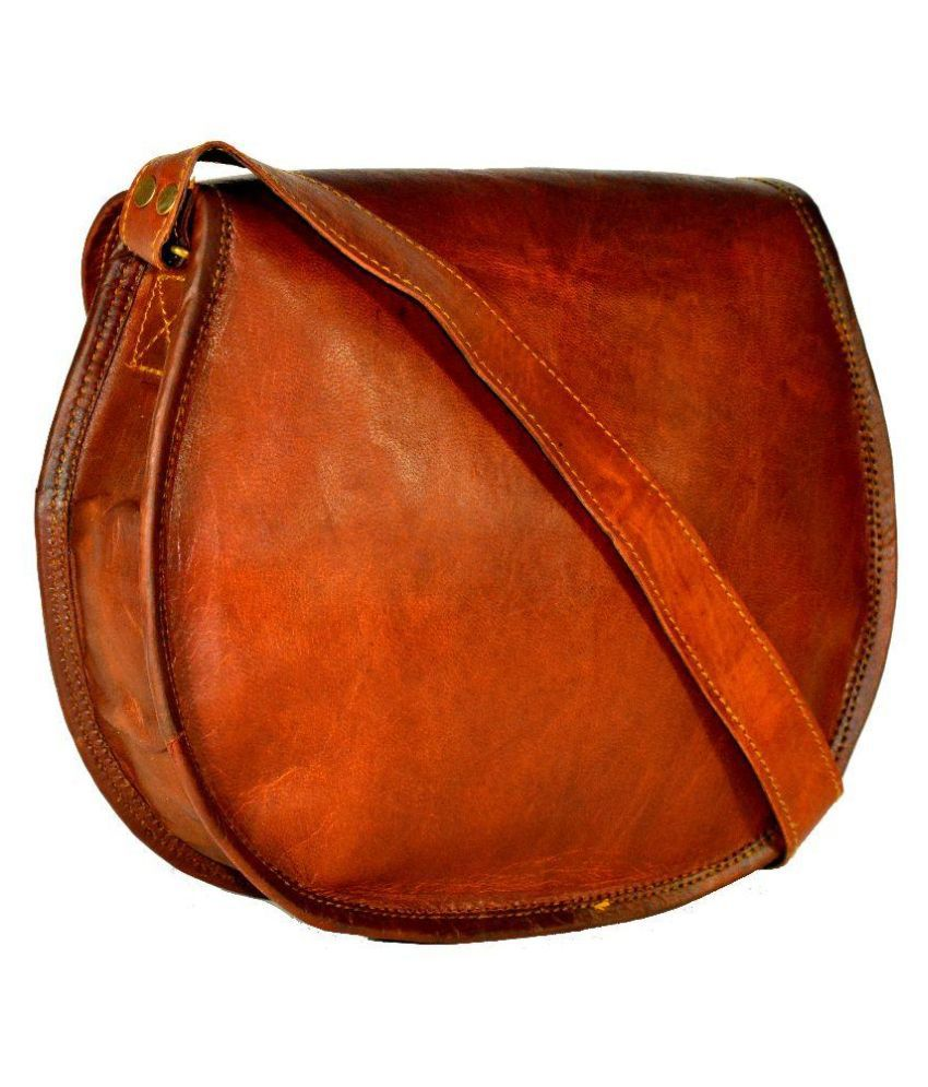 Adimani Brown Pure Leather Sling Bag - Buy Adimani Brown Pure ...