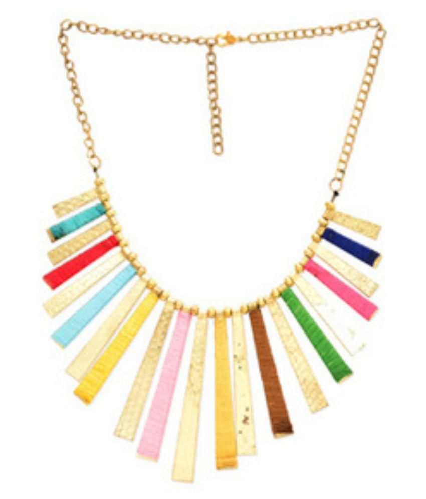 Fedexo Alloy Studded Multi Coloured Necklace