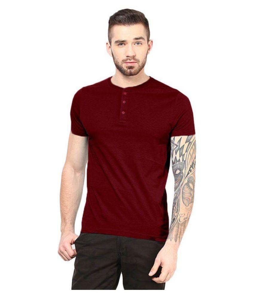 Gallop Maroon Henley T Shirt