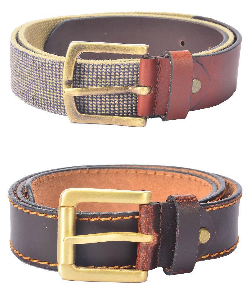 Hidelink Multicolour Leather Belt for Men - Pack of 2