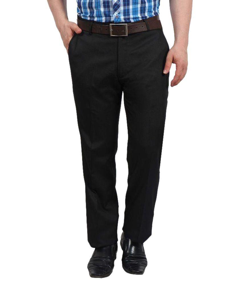 Solemio Black Slim Fit Flat Trousers