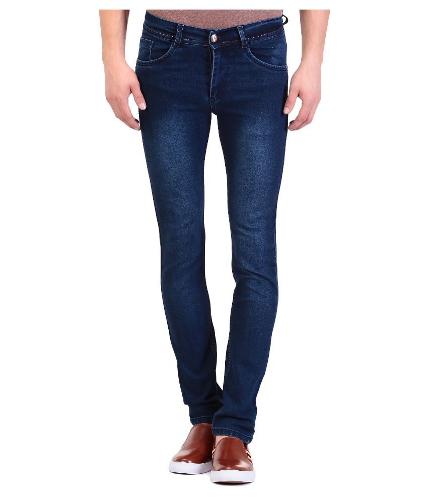 TAG 7 Blue Slim Fit Faded Jeans