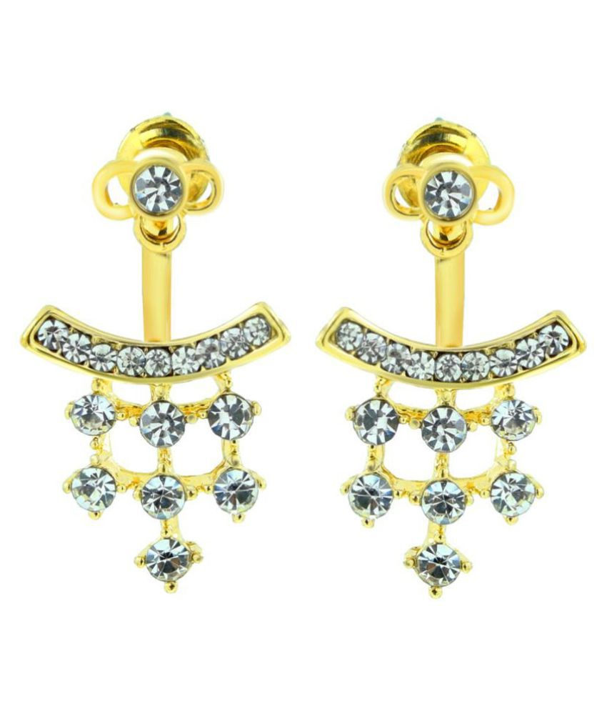 The Jewelbox Brass Gold Plating American Diamonds Studded Golden Coloured Earrings