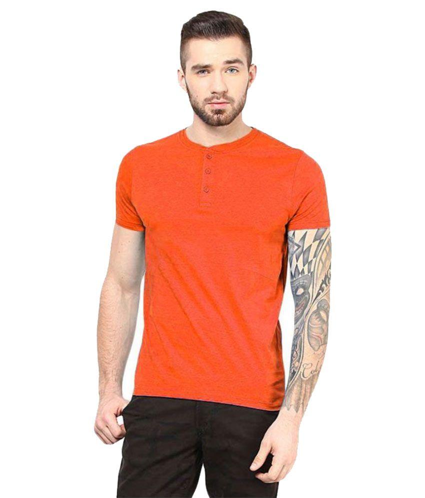 Gallop Orange Henley T Shirt