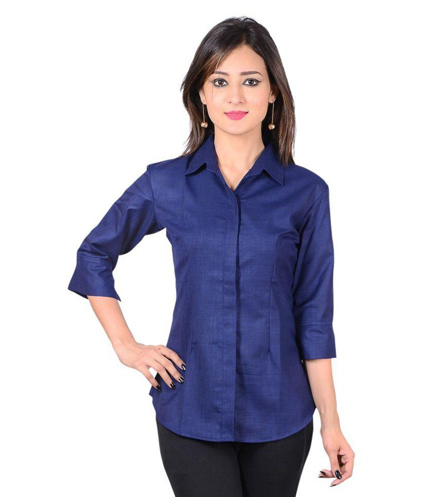 Jazzy Ben Navy Poly Cotton Shirts