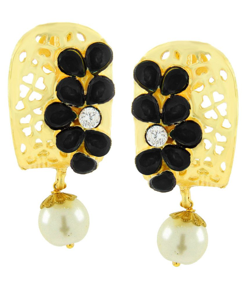 The Jewelbox Copper Gold Plating American diamonds Studded Multi Coloured Earrings
