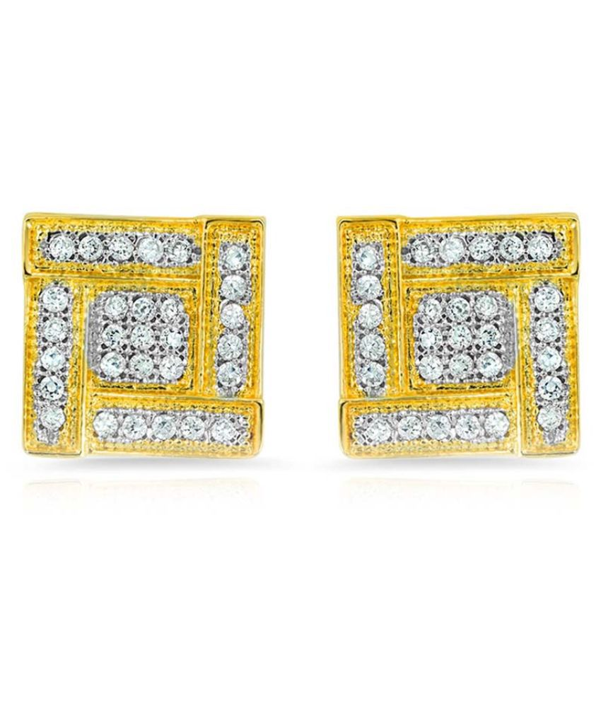 Mahi Golden and White Cubiz Zirconia Studs