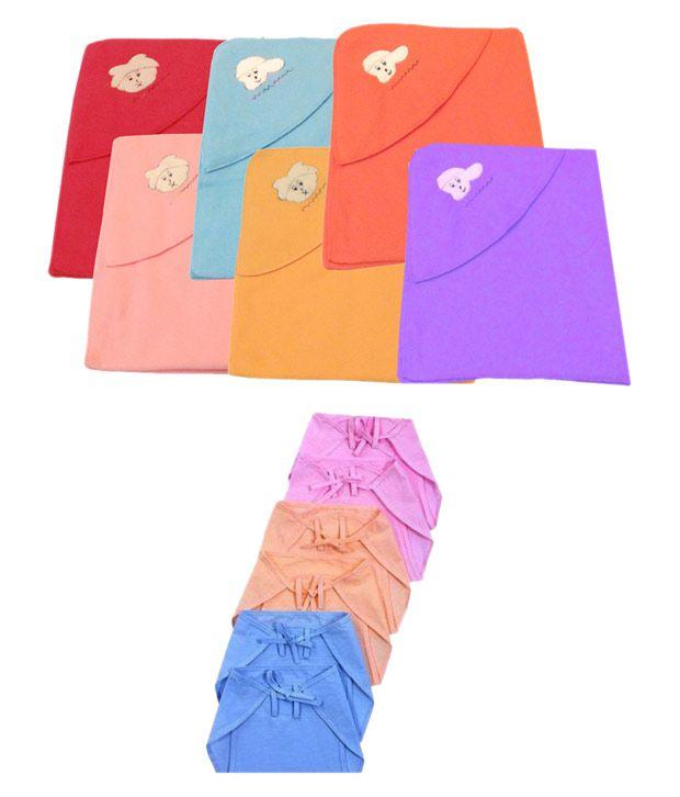 Big Bear Multi-Colour Fleece Baby Wrap cum blanket ( 70 cm × 90 cm - 6 or more pcs)