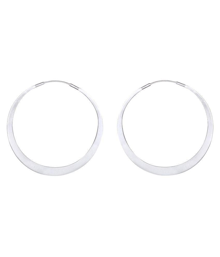 Mirror White 92.5 Sterling Silver Hoops