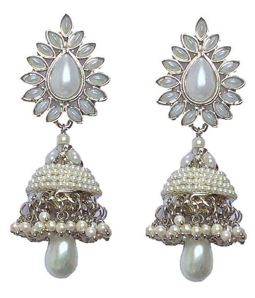 SECSHI Alloy Silver Coloured Jhumki Earrings