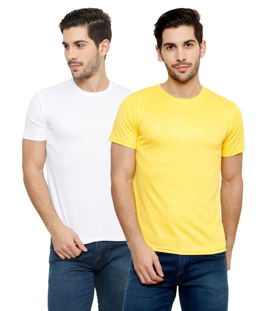Grand Bear Dry-Fit Fitness T-Shirt Combo - White, Yellow