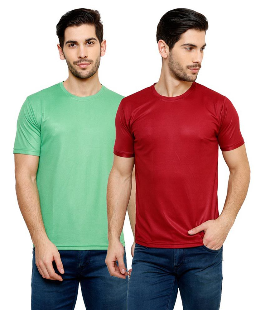 Grand Bear Dry-Fit Fitness T-Shirt Combo - Green, Maroon