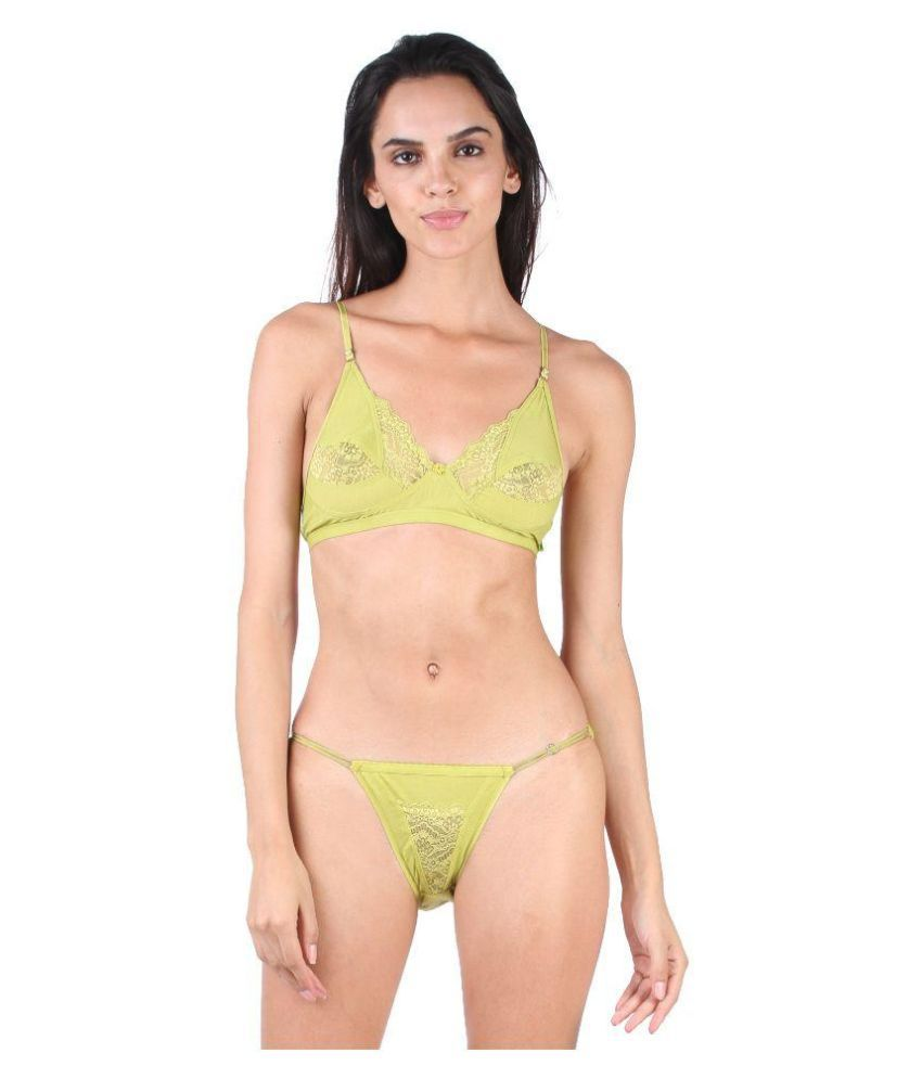 29dff598523ba Buy Lime Green Lace Bra   Panty Sets Online at Best Prices in India -  Snapdeal