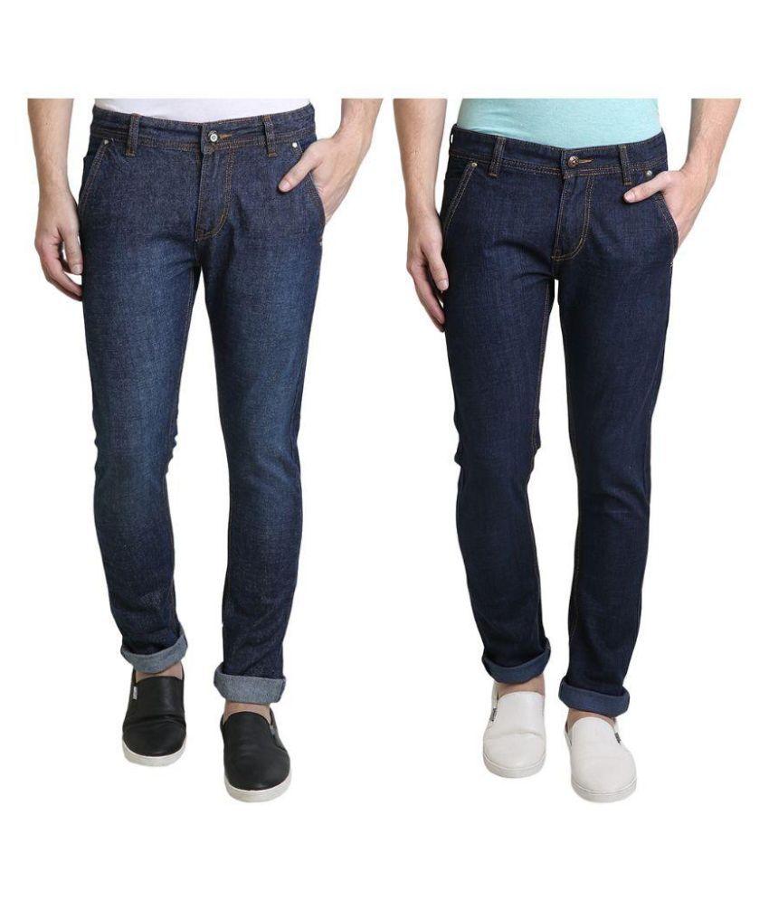 Denim Cafe Blue Slim Fit Solid Jeans Pack of 2