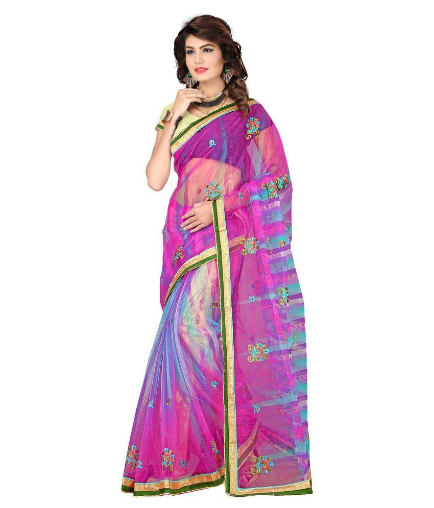 Kunika Sarees Pink Cotton Silk Saree