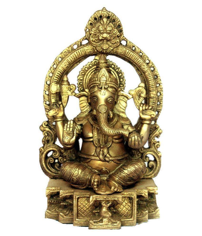 Nayra Glossy Brass Ganesha Idol