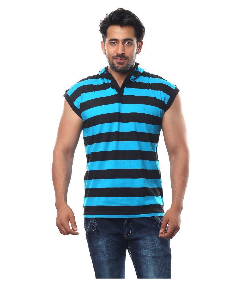 V3Squared Blue Hooded T Shirt