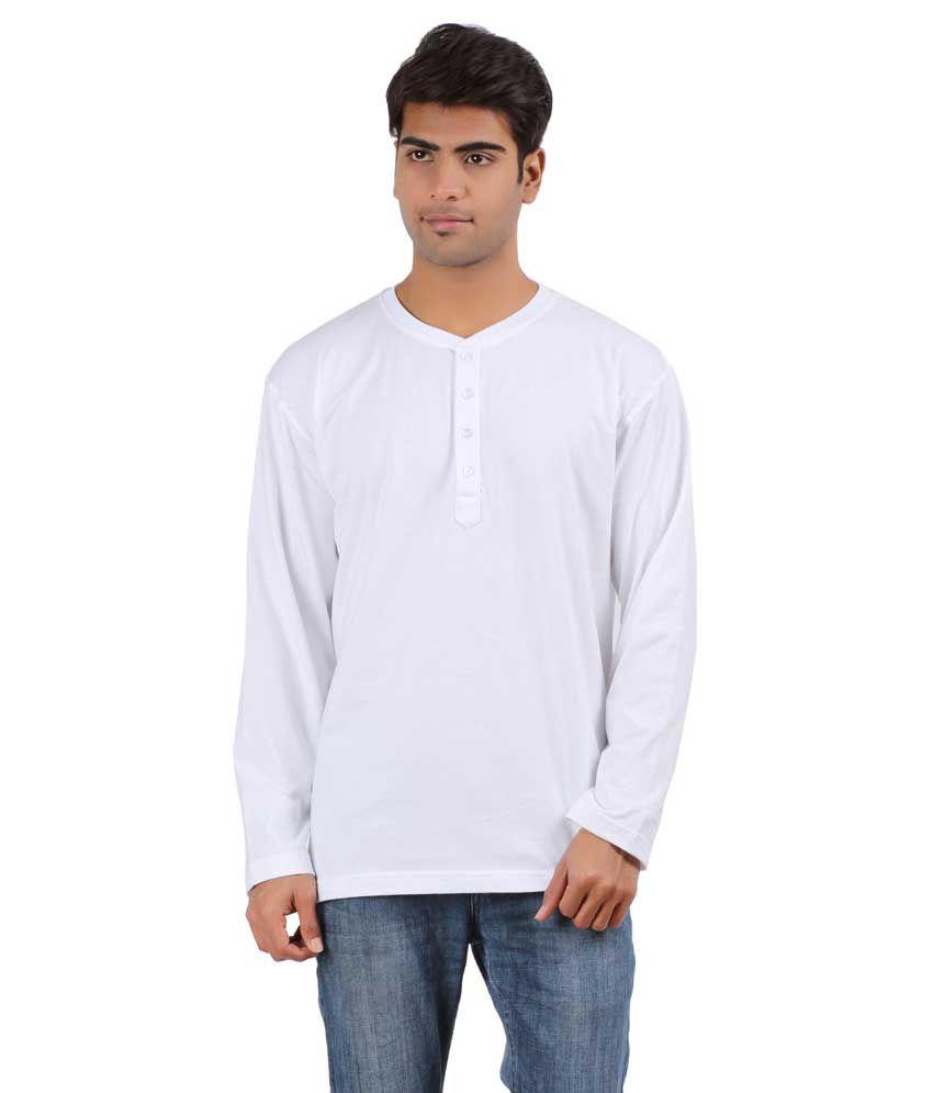 Arowana White Henley T Shirt Combo of 2