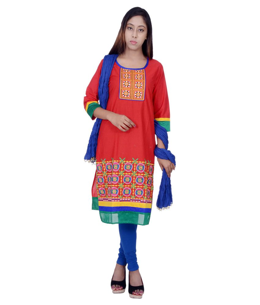 Rama Red Cotton Straight Fit Stitched Salwar Suit