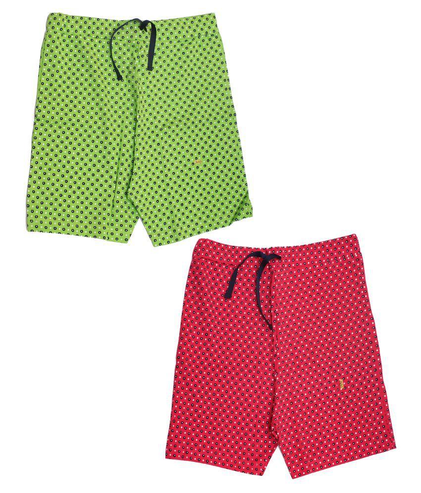 Babeezworld Multicolour Cotton Shorts - Pack of 2