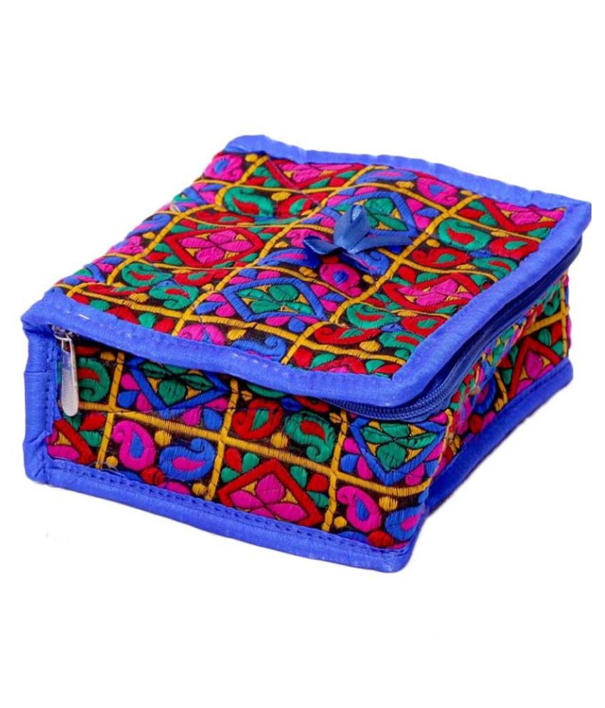 Kuber Industries Multicolour Fabric Multipurpose Jewellery Box - Set of 2