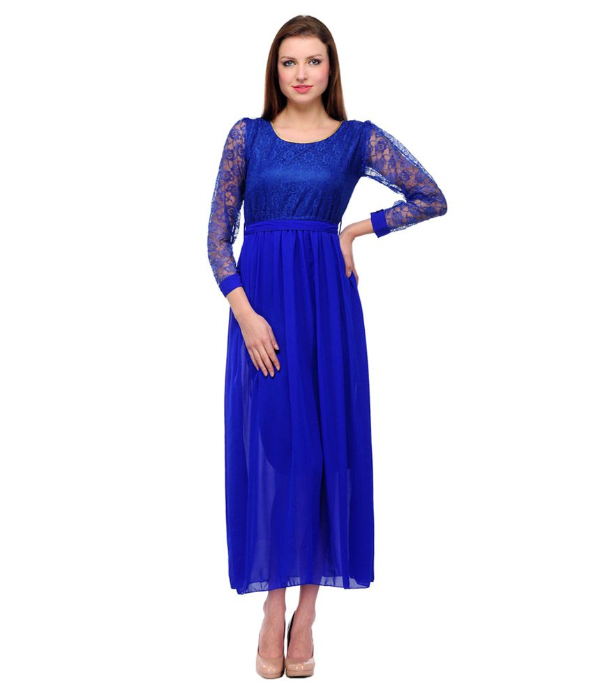 a73f008afd5f Laureil Blue Net Maxi Dress - Buy Laureil Blue Net Maxi Dress Online at  Best Prices in India on Snapdeal