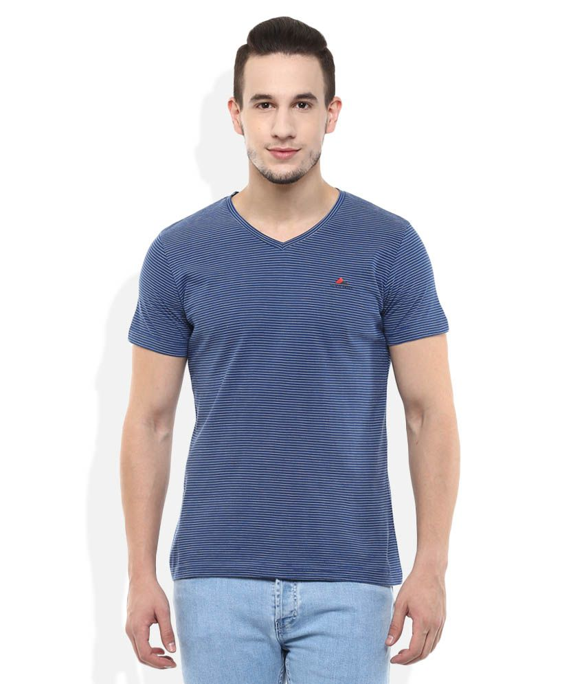 Monte Carlo Blue V-Neck Stripers T-Shirt