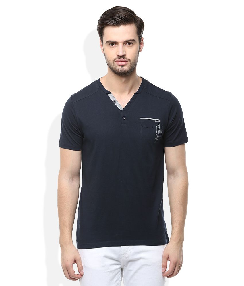 Monte Carlo Navy Round Neck Solids T-Shirt