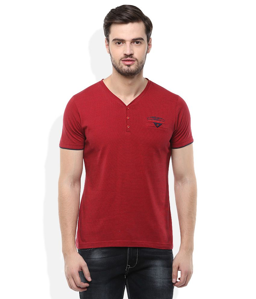 Monte Carlo Red V-Neck Solids T-Shirt